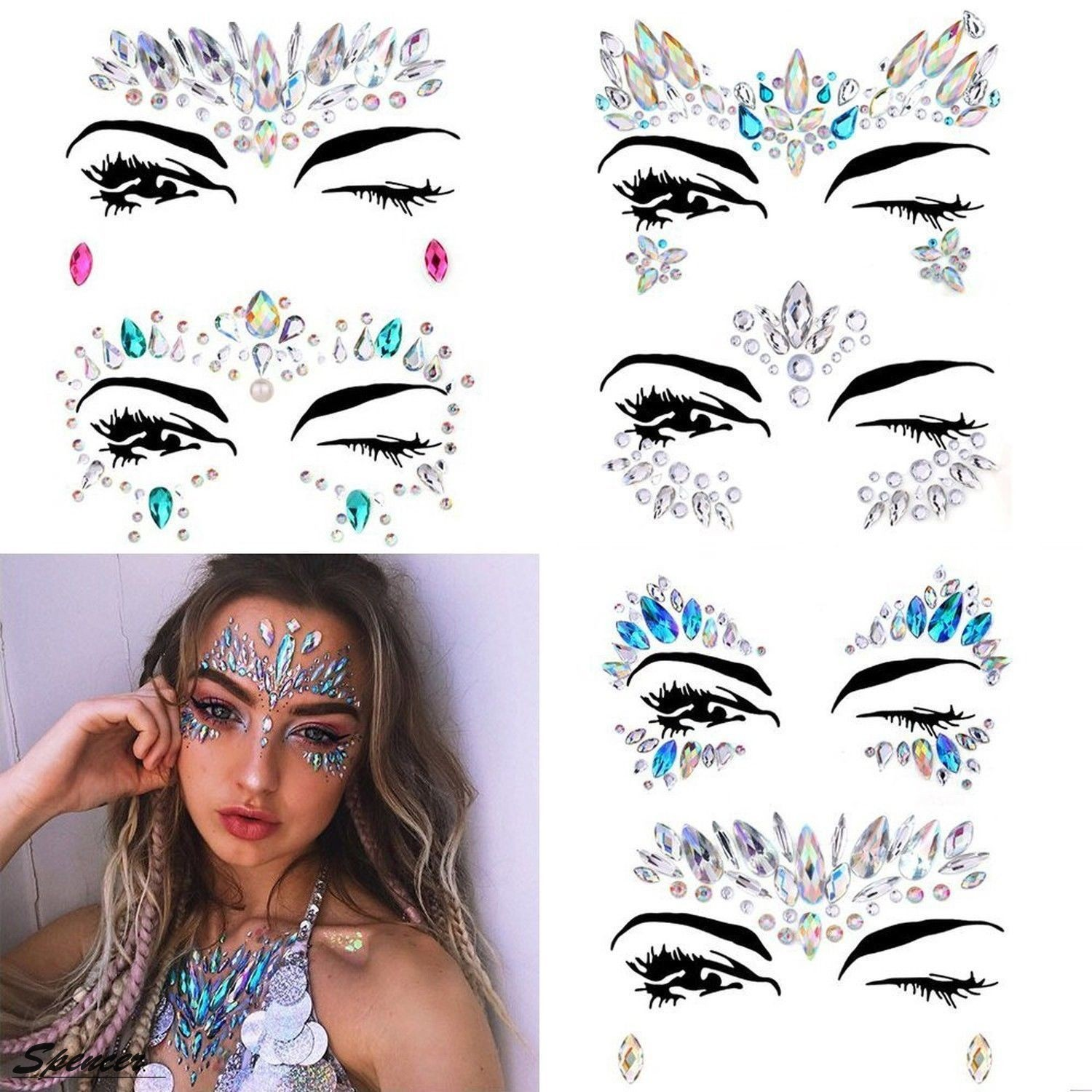 "Spencer 1PC Rhinestone Temporary Face Tattoos Crystal Tears Gem Adhesive Glitter Body Stickers""Type #5"""