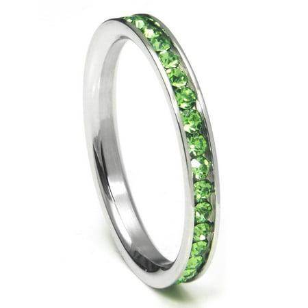 316L Stainless Steel Peridot Green Cubic Zirconia CZ Eternity Wedding 3MM Band Ring Sz 7 (Glow In The Dark Wedding Rings)