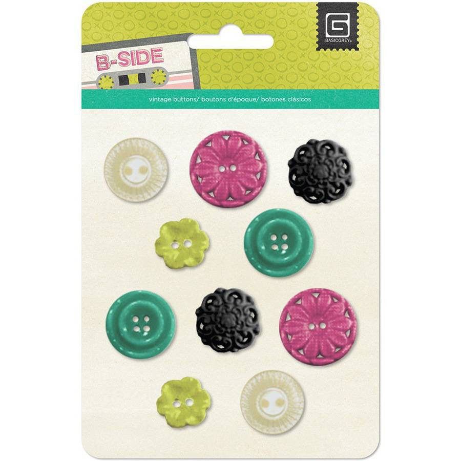 B-Side Resin Buttons & Flowers, 10pk