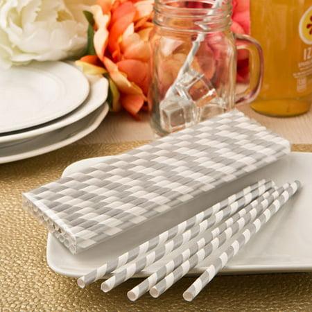 Matte Silver Collection (Perfect Plain' collection Matte Silver and white stripe design paper straws )