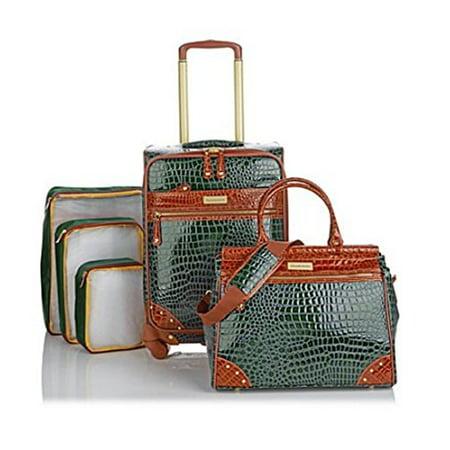 Samantha Brown 5 Piece Classic Luggage Set 21  Upright  Dowel Bag Plus Extras Green  Camel Trim