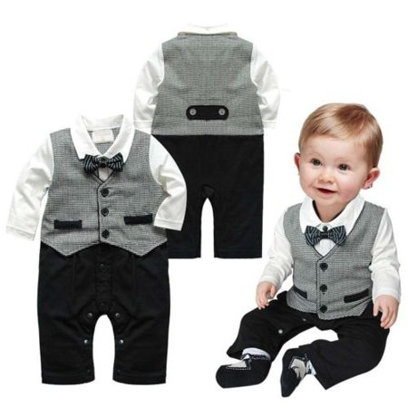 Baby Boy Outfits Set Toddler Long Sleeves Gentleman Romper Jumpsuit & Vest Cotton Overalls Rompers with Bow Tie Playsuit Baby Grows Pants Outfits