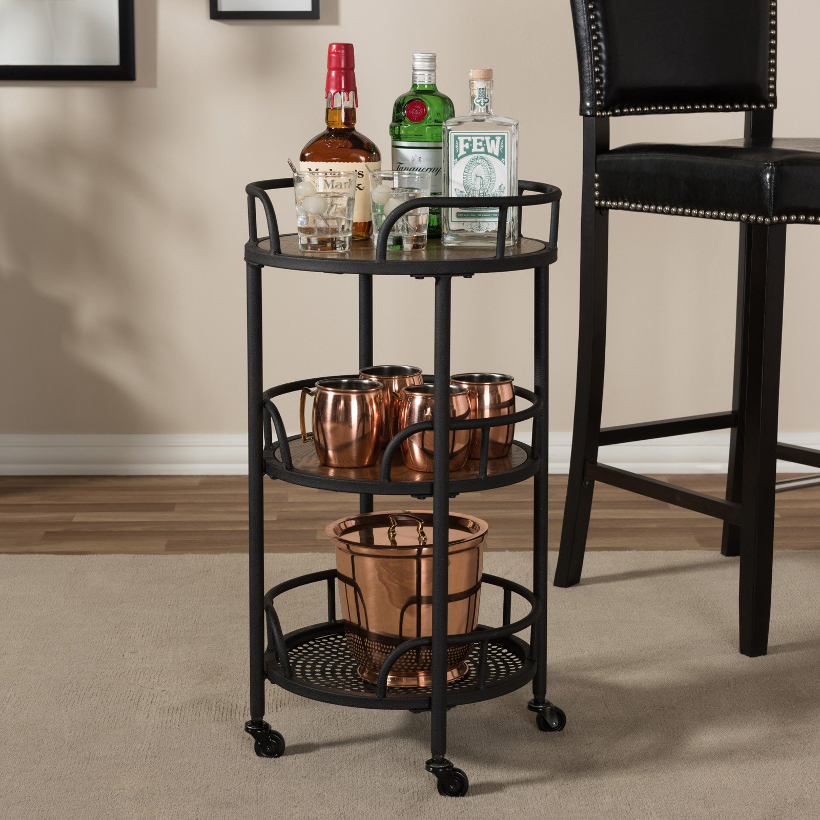 Baxton Studio Bristol Metal and Wood Mobile Serving Cart