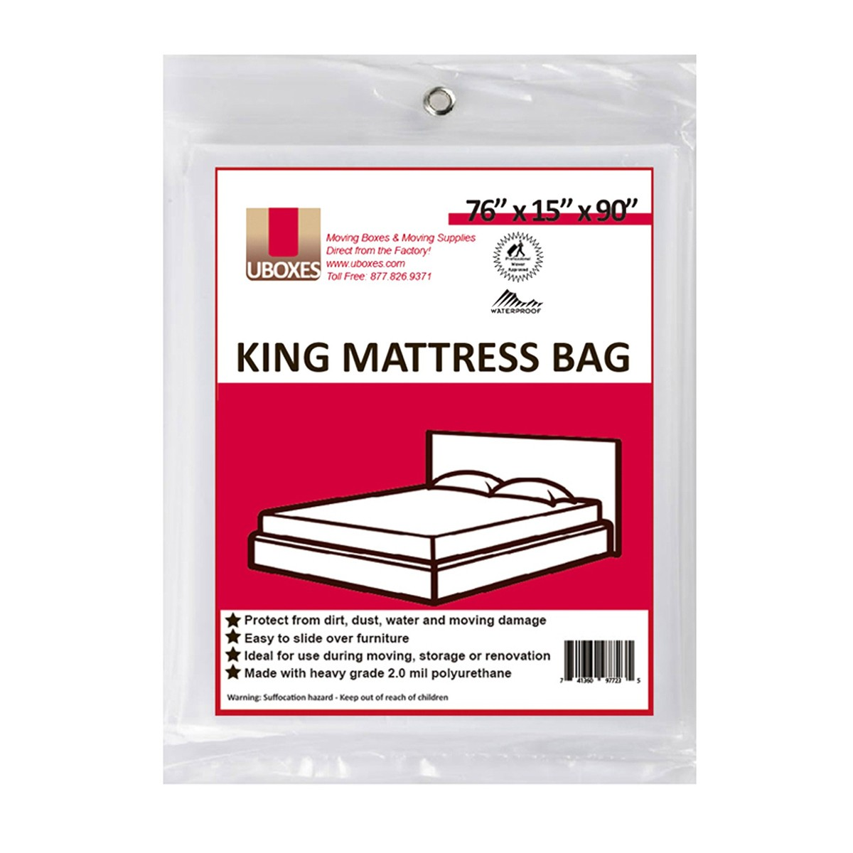 "10 King Mattress Covers 76x15x90"" Poly Bags Protective Moving Storage by Uboxes"