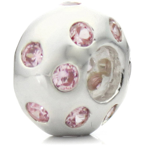 "Pacific Charms Silver-Tone Crystal Bead, ""Disco Night"" Pink Crystal"