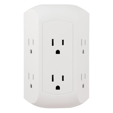 GE Pro Side-Access 6 Outlet Surge Protector Wall Tap Adapter