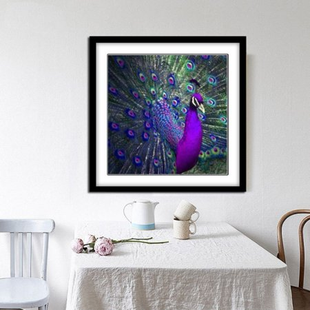 5D DIY Diamond Painting Full Square Drill Peacock Rhinestone Embroidery for Wall Decoration (20x20cm,30x30cm) - Peacock Spider For Sale