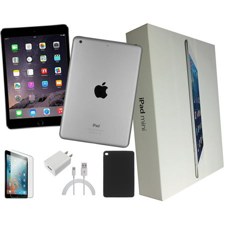 (Refurbished) Apple iPad Mini 2 32GB, Black, Wi-Fi Only, 7.9-inch Retina, Plus Bundle Deal: Case, Tempered Glass, Generic Charger