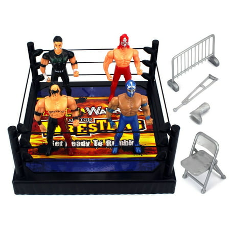 VT Action Warriors Wrestling Toy Figure Play Set w/ Ring, 4 Toy Figures, - Kids Sumo Wrestling