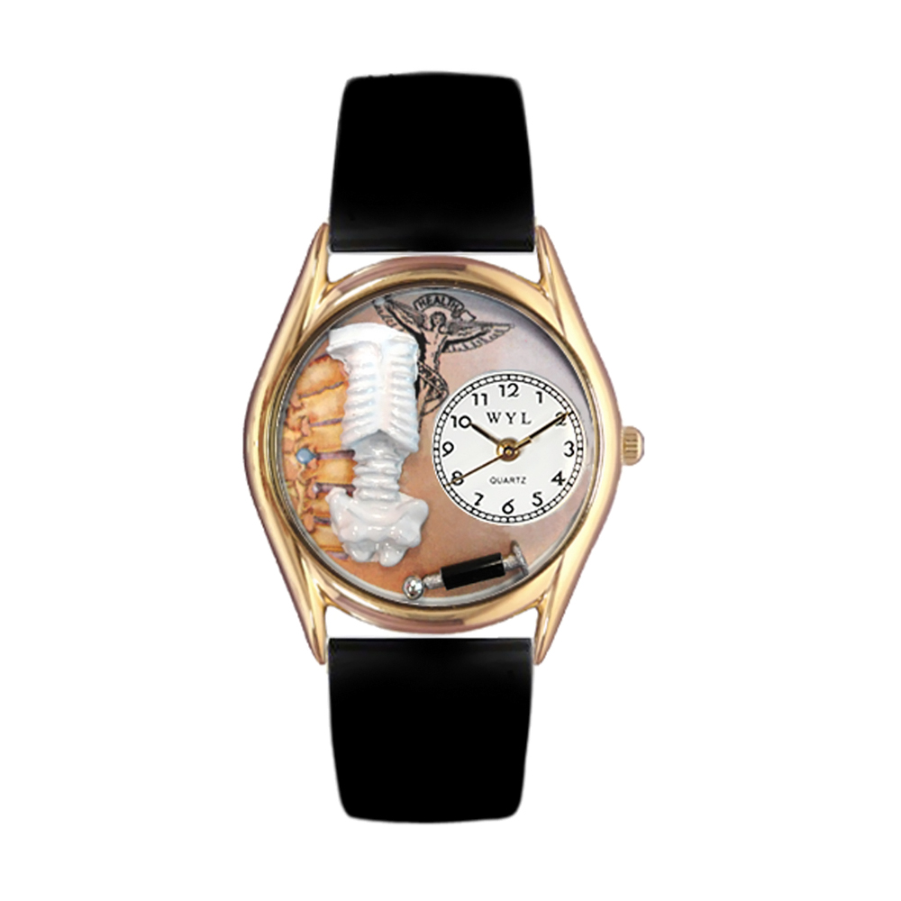 Whimsical Chiropractor Black Leather And Goldtone Watch