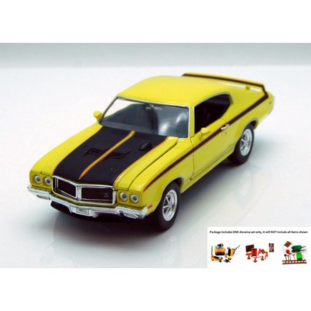 Diecast Car & Free Diorama Set - 1970 Buick GSX, Yellow - Welly 22433 -  1/24 scale Diecast Model Toy Car w/Free Diorama Set