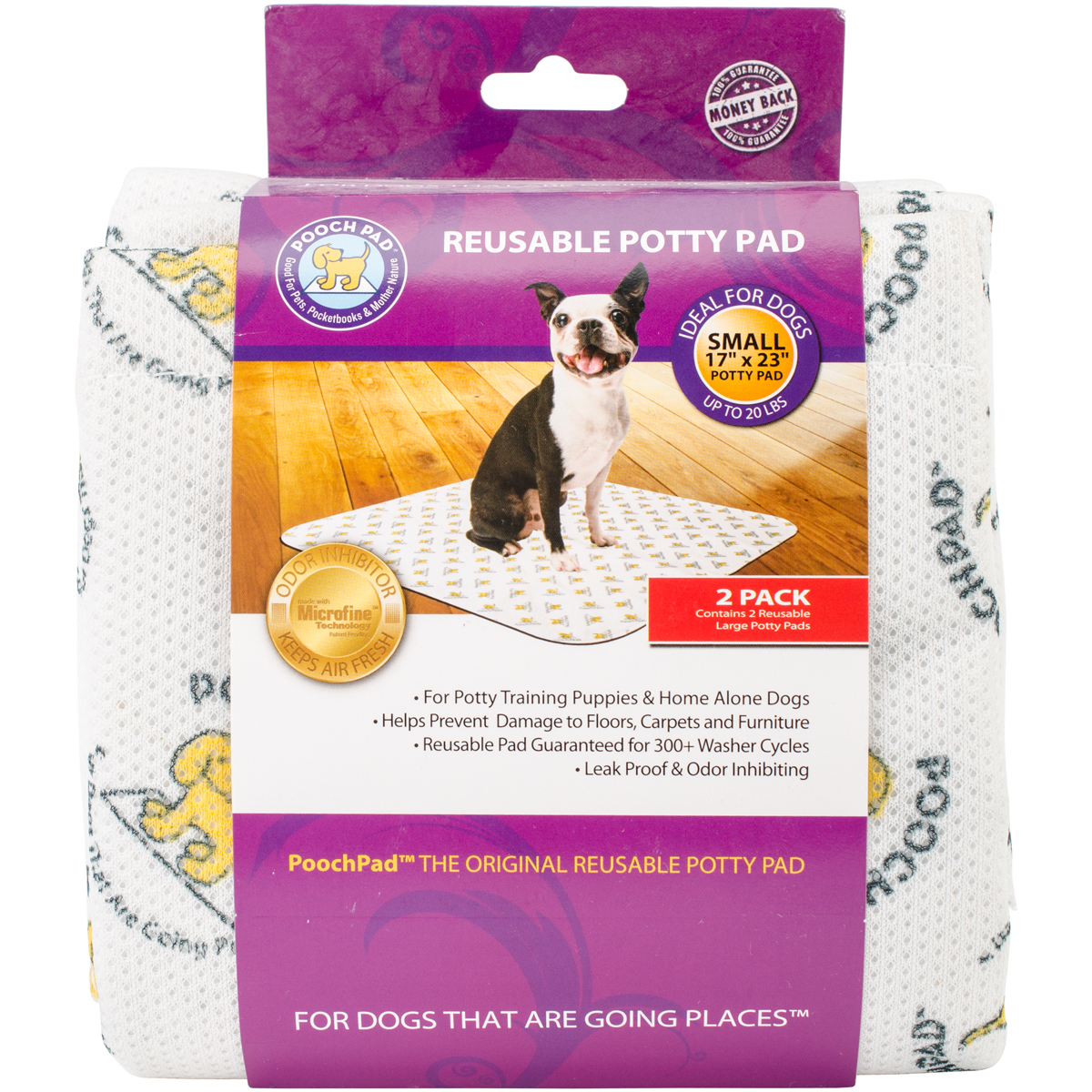 PoochPad 17-Inch by 23-Inch Pet Training Pad, Small, 2-Pack