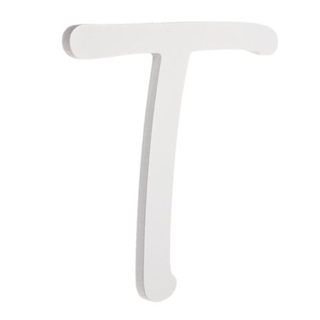9 inch White Wood Letter T: Brush - Susy Ratto Brush Letter
