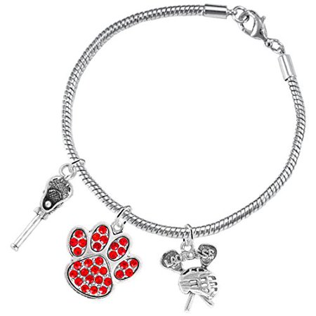 Lacrosse Jewelry, Red Crystal Paw Jewelry, ©2015 Hypoallergenic Safe-Nickel, Lead And Cadmium Free! Lacrosse Jewelry Red Crystal Paw Jewelry 2015