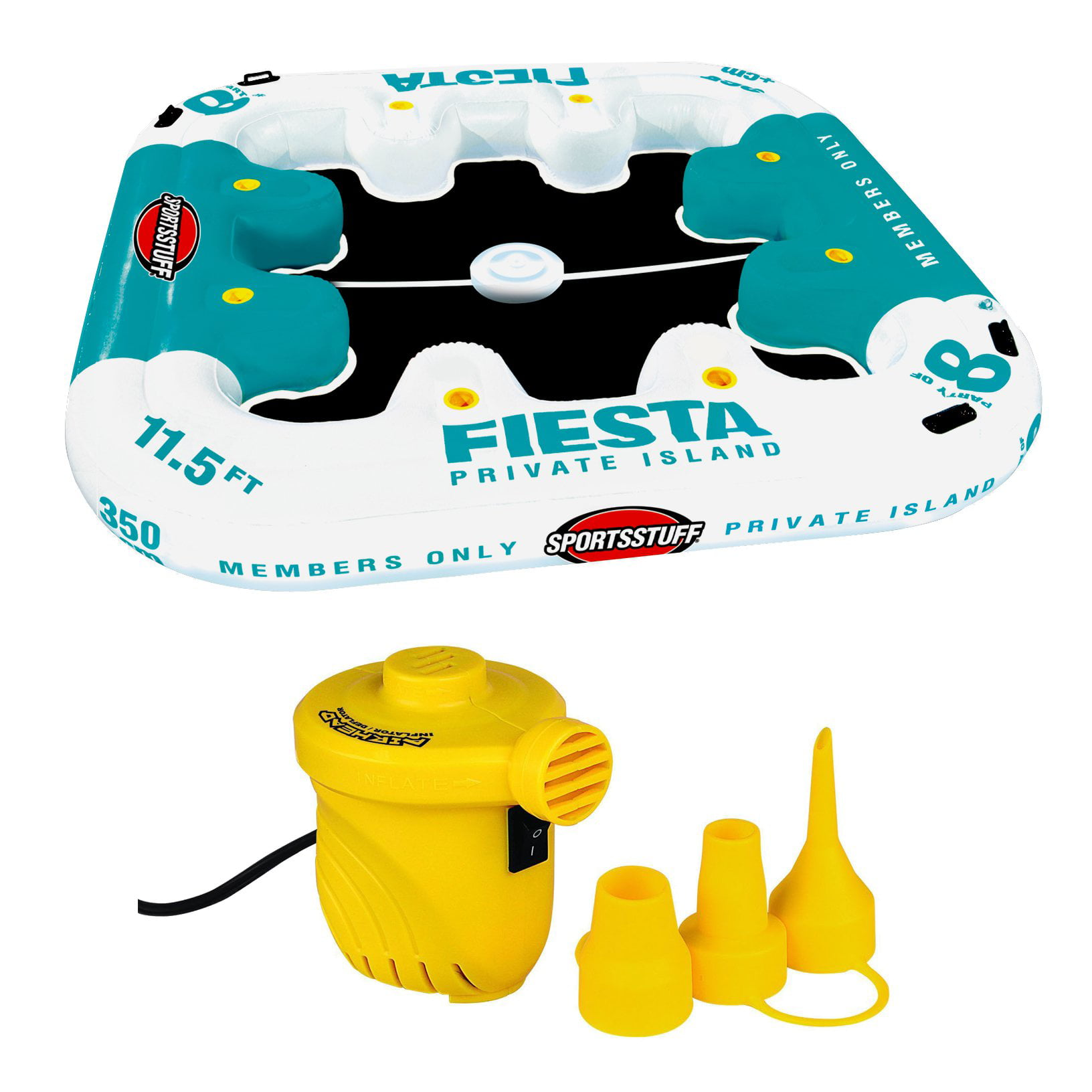 Sportsstuff Fiesta Island 8-Person Raft with Cooler +12V Portable Air Pump by Kwik Tek