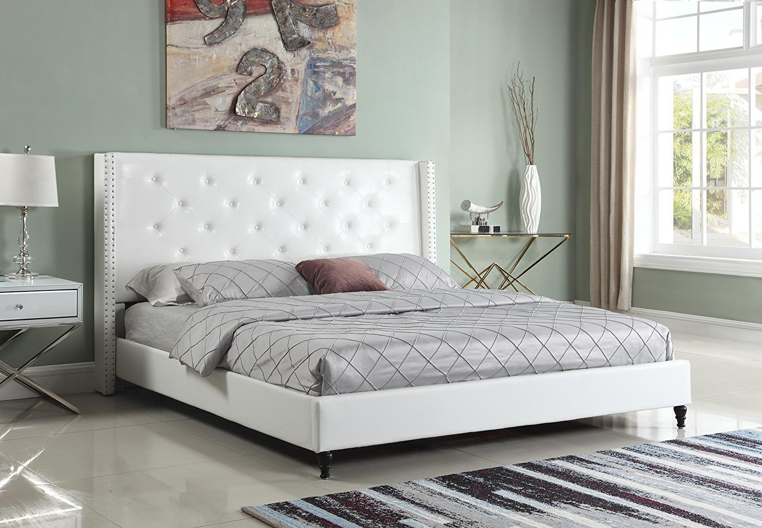 "HomeLife® 51"" White Leather Headboard & Platform Bed ..."