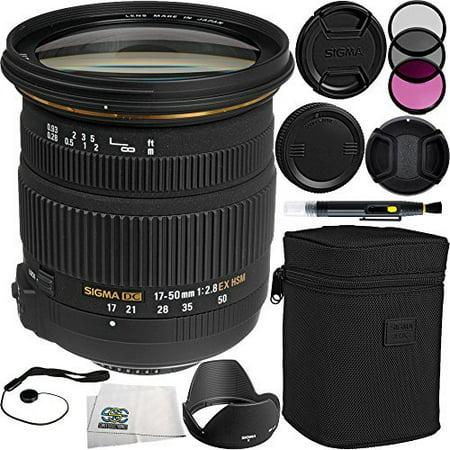 Sigma 17-50mm f/2.8 EX DC OS HSM Zoom Lens (for Canon DSLRs with APS-C Sensors) Bundle Includes Manufacturer Accessories + 3 PC Filter Kit + Lens Cap + Lens Pen + Cap Keeper + Microfiber Cleaning