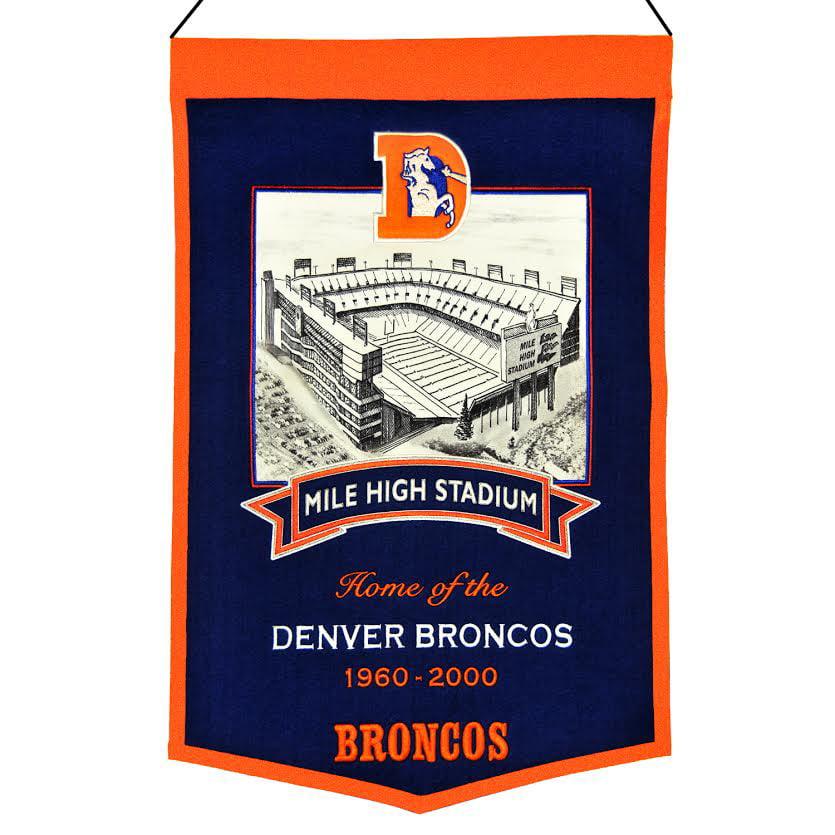 Denver Broncos Official NFL 15.5 inch  x 12 inch  Wool Stadium Banner Mile High Stadium by Winning Streak Sports