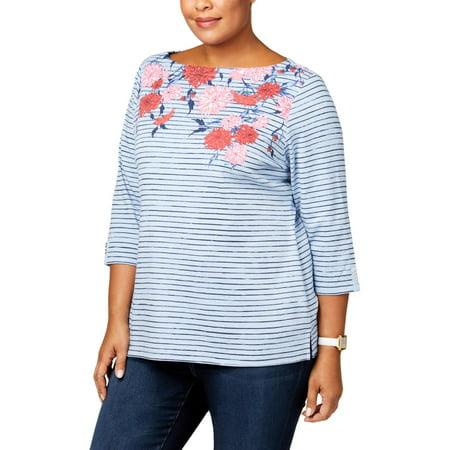 Karen Scott Womens Plus Striped Studded Knit Top ()