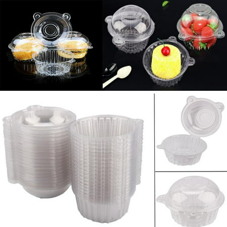 Cupcake Box,100/400Pcs Clear Plastic Cupcake Box Single Cake Case Muffin Pod Dome Holder Container