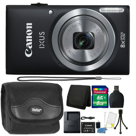 - Canon IXUS 185 / ELPH 180 20MP 16x ZoomPlus Black Digital Camera with 8GB Top Accessory Kit