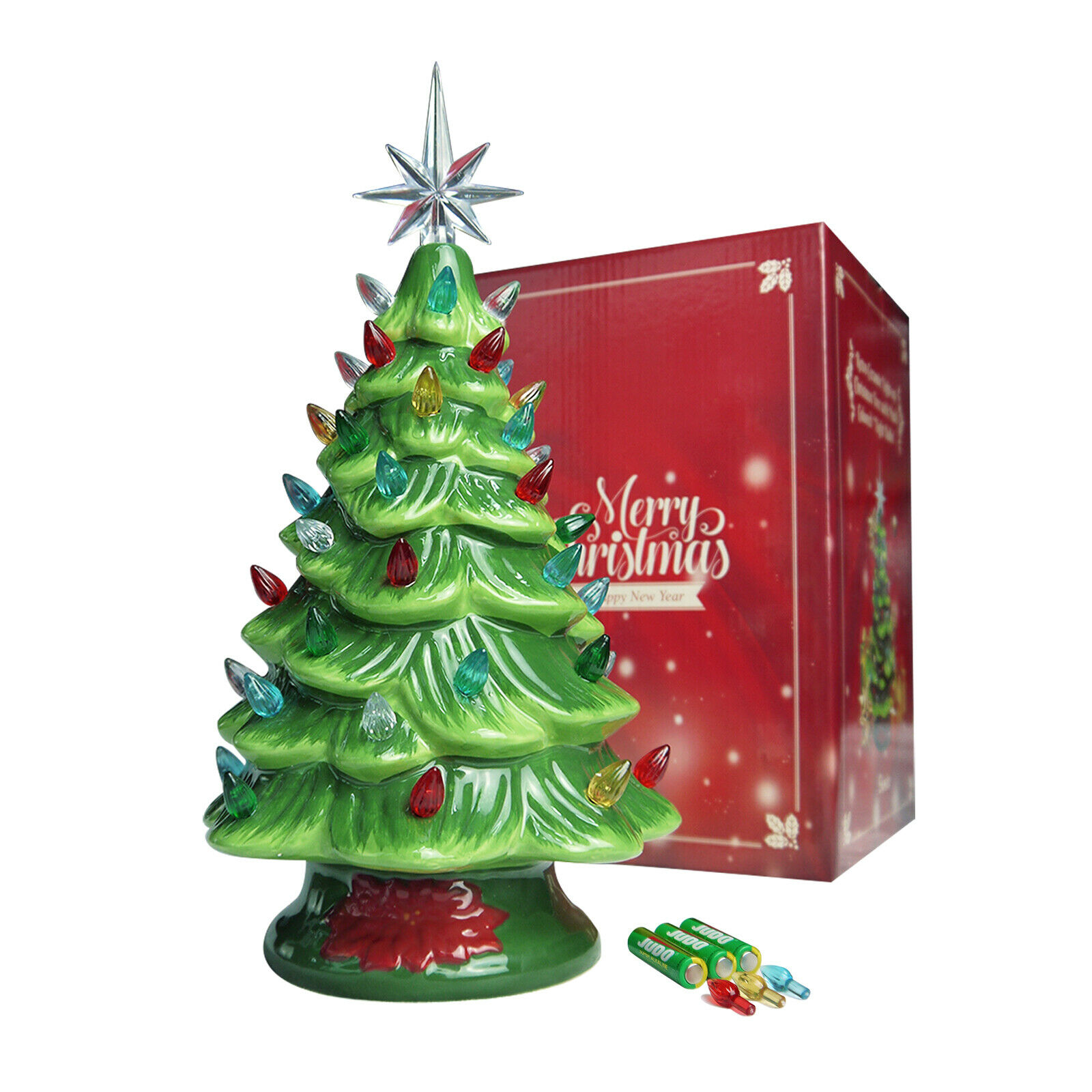 Lighted Ceramic Christmas Tree Cordless 13 Decor Green