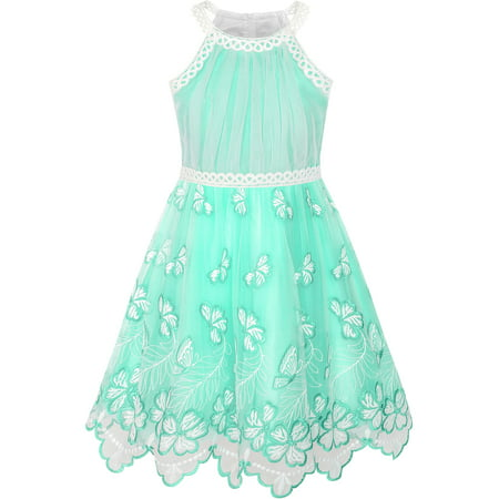 Girls Dress Turquoise Butterfly Embroidered Halter Dress Party - Little Girls Gold Dress