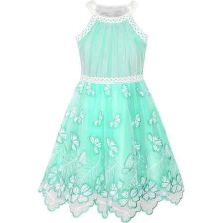 Yellow Cotton Dress - Girls Dress Turquoise Butterfly Embroidered Halter Dress Party 5