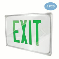 eTopLighting [6 Pack] LED Exit Sign Emergency Light, Green Letter, Battery Back-up, Fully Automatic Operation, Ceiling or Wall Mounting, Side Mounting, WMLS3290