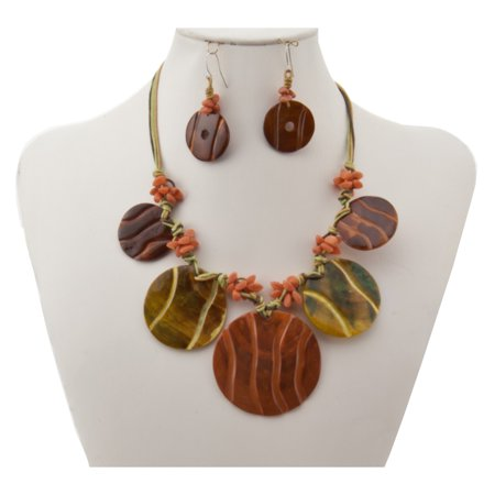 Brown Green Shell Disc Fringe Statment Necklace Earrings