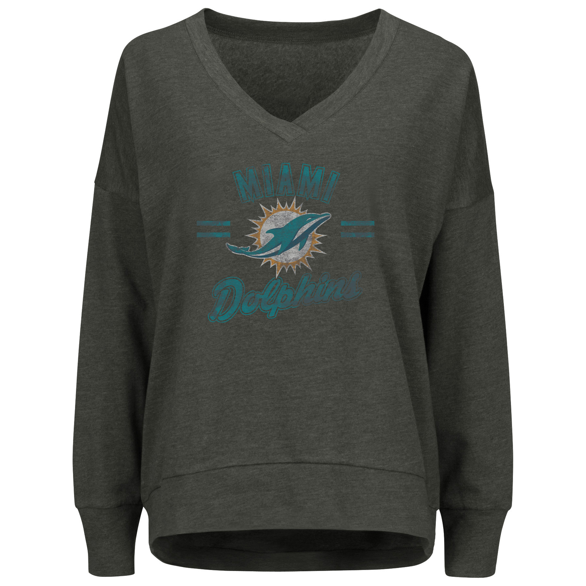 Miami Dolphins Majestic Women's Great Play V-Neck Sweatshirt - Charcoal