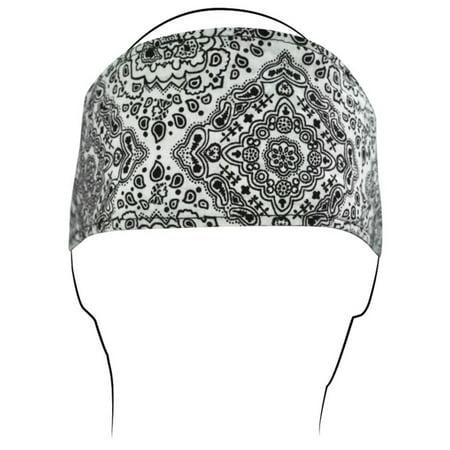 Zan Headgear Cotton Headband White Paisley (White, OSFM)