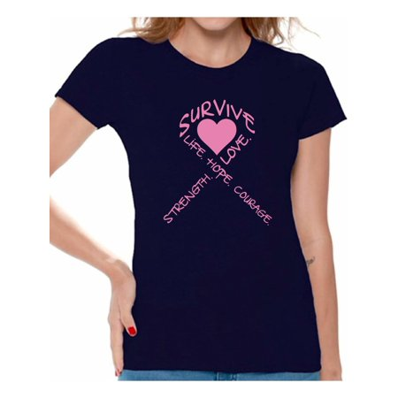 Ladies Crimson Heart (Survive Heart T-shirt Tops Cancer t shirt breast cancer awareness t shirt faith love hope fight believe support survivor gifts tackle for my mom dad grandpa grandma special for women think pink ribbon)