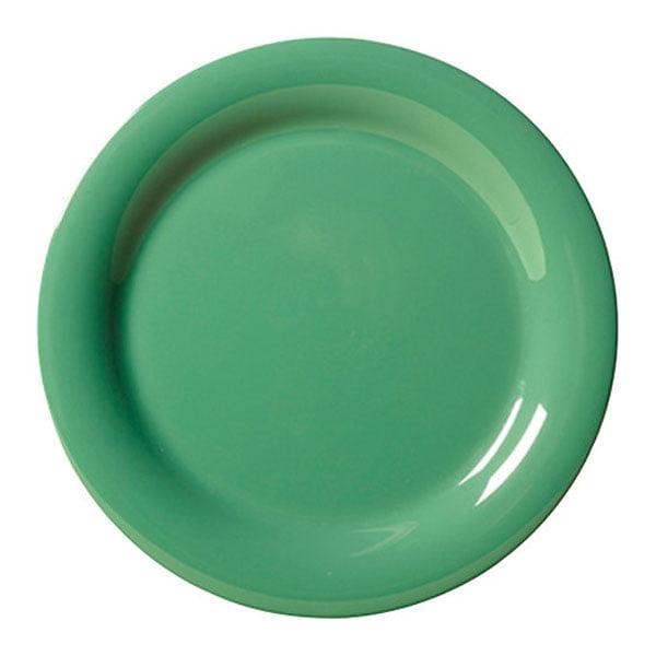 Diamond Mardi Gras 9 inch Narrow Rim Plate Rainforest Green Melamine/Case of 24