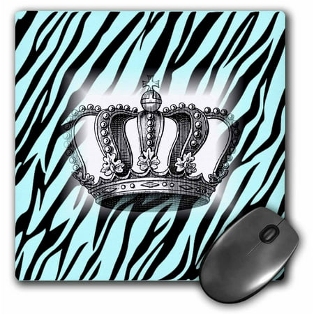 - 3dRose Victorian Crown On Aqua Zebra, Mouse Pad, 8 by 8 inches