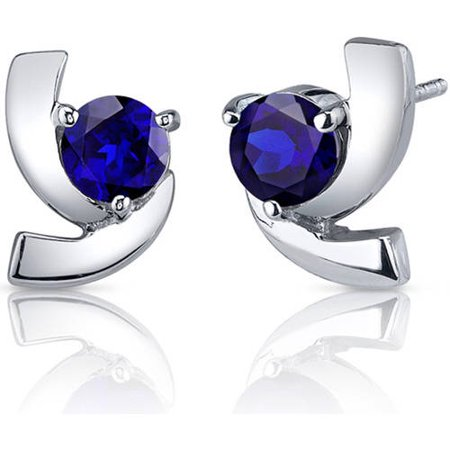 2.50 Carat T.G.W. Round-Cut Blue Sapphire Rhodium over Sterling Silver Stud Earrings