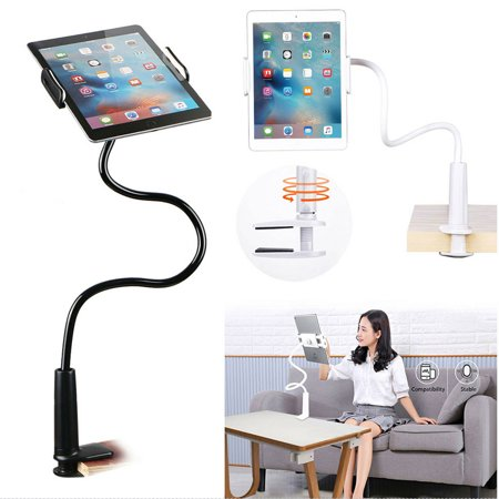 EEEKit 2 in 1 Phone & Tablet Desktop Bed Lazy Stand Mount Flexible Gooseneck Arm 360 Clip Bracket Clamp Mount Stand for iPhone Xs Max XR, Samsung S10 S10e S9, iPad Air Mini, SAM Galaxy