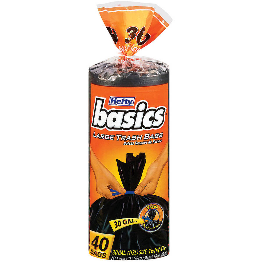 Hefty 30 Gallon Basics Large Trash Bags, 40 count