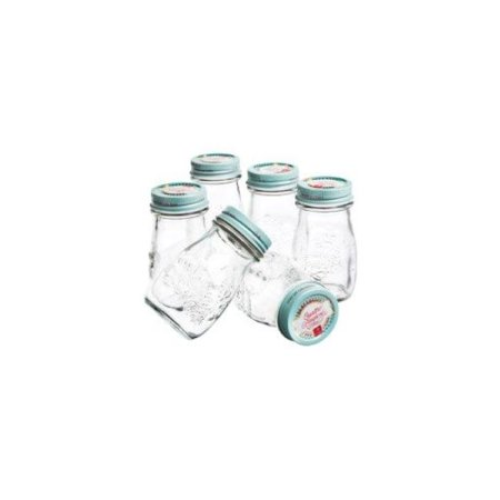 Bormioli Rocco Quattro Stagioni Vintage Glass Bottle With Air-Tight Lid For Home Canning - BPA Free, Food & Heat Safe, Odor & Stain Proof .40 Liter 13.5 Oz Pack Of 6 - Clear / Blue