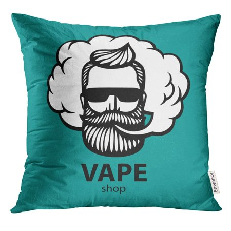 ARHOME Aquamarine Hipster Dude with Mustache and Beard Man Vape Cloud Electronic Cigarette Stickers Emblem Pillow Case 16x16 Inches Pillowcase (Dudes With Beards)