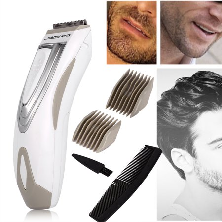 Hilitand Electric Trimmer and Shaver Kit 6pcs Electric Hair Clipper Professional Electric Cordless Handy Men's Shaver Razor for Hair, Beard, Moustache and Sideburns(White) - Goatee Beard Without Moustache