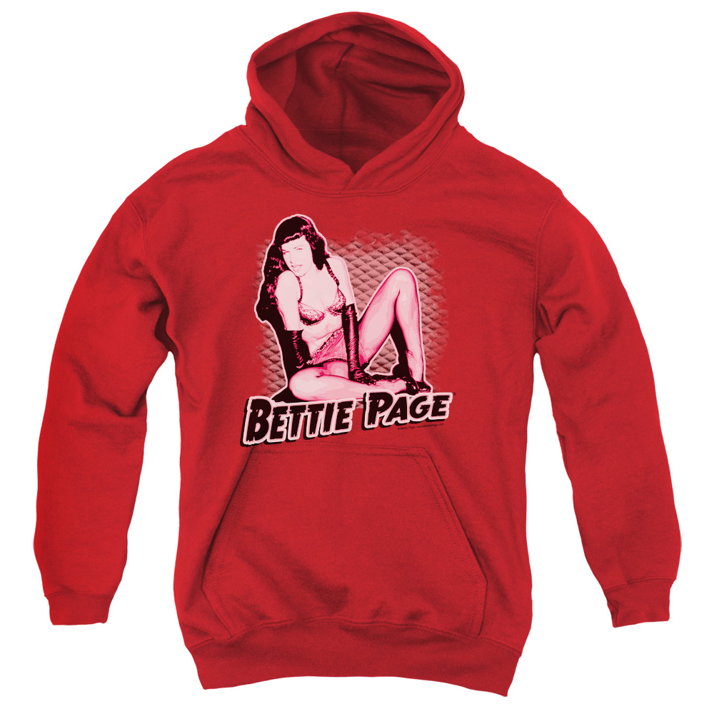 Bettie Page Pin Up Queen Big Boys Pullover Hoodie