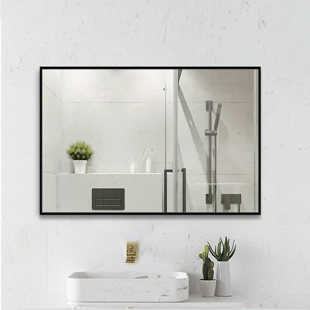 Neutype 38 X 26 Black Bathroom Mirror Modern Aluminum Alloy Thin Frame Rectangular Wall Mounted Vanity Mirror Walmart Com Walmart Com