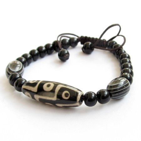 Tibetan Agate Gem 9 Eye Dzi Bead Buddhist Prayer Beads Mala Bracelet (Dzi Agate)