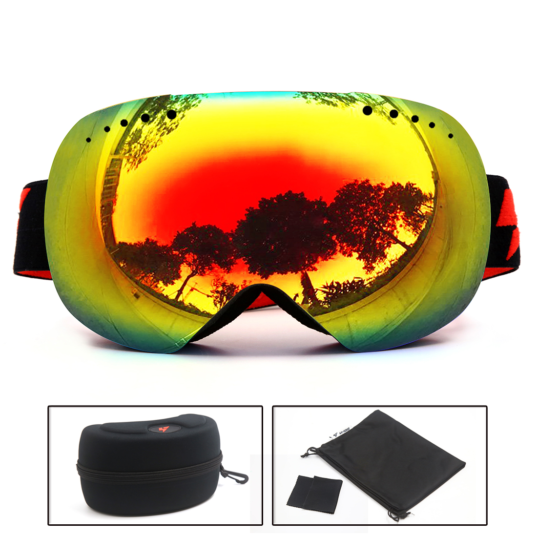 LY-100 Ski Snowboard Goggles Snowmobile Anti-fog UV400 Protect OTG Non Slip BK by