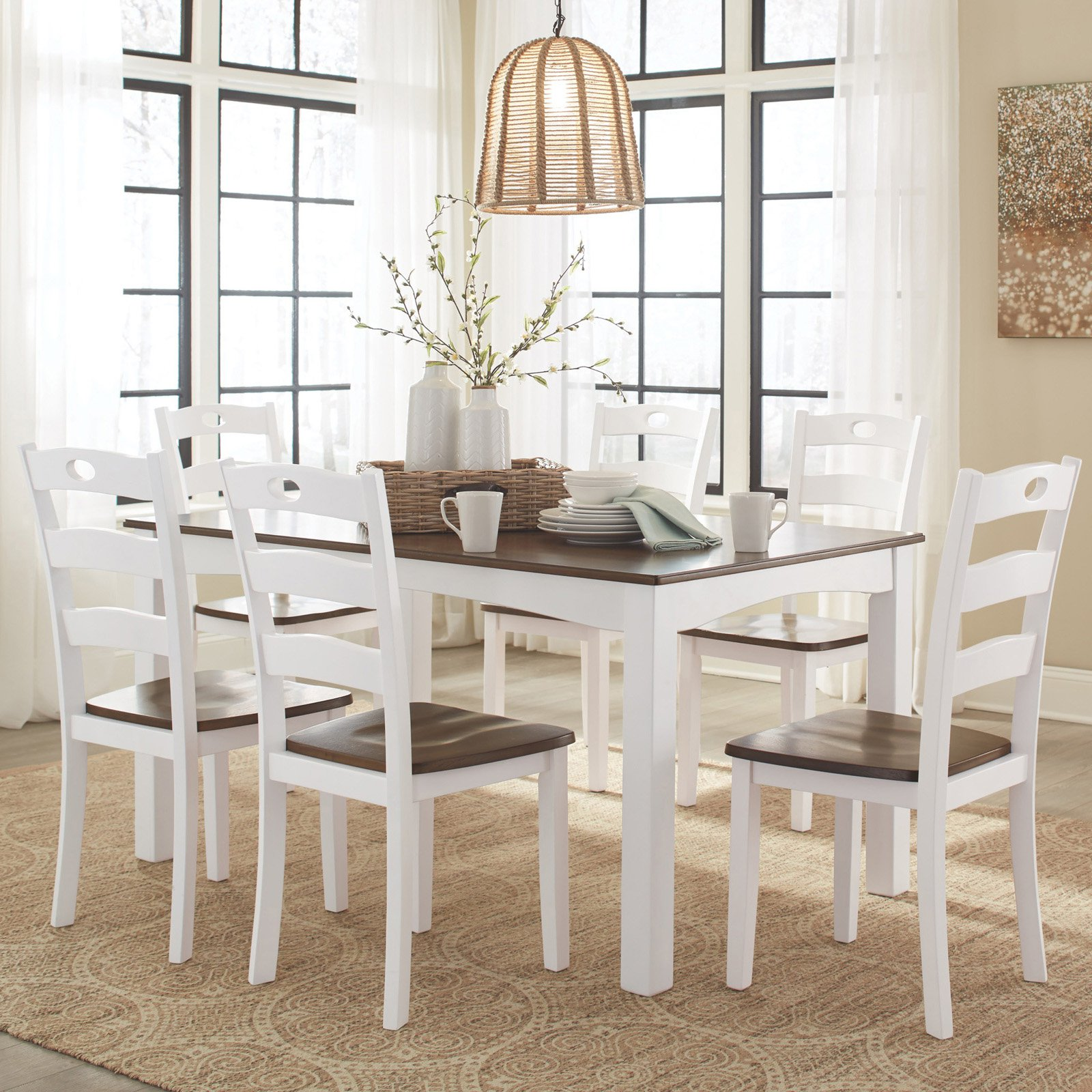 Signature Design by Ashley Woodanville 7 Piece Dining Table Set