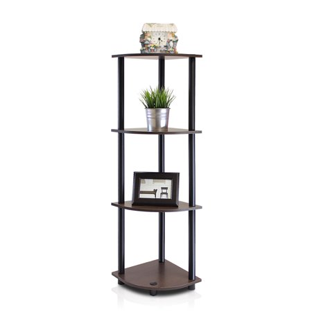 Furinno Turn-N-Tube 4-Tier Corner Display Rack Multipurpose Shelving Unit, Dark Brown Grain/Black Library Display Unit