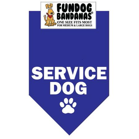 Fun Dog Bandana - SERVICE DOG - One Size Fits Most for Med to Lg Dogs, royal blue pet scarf