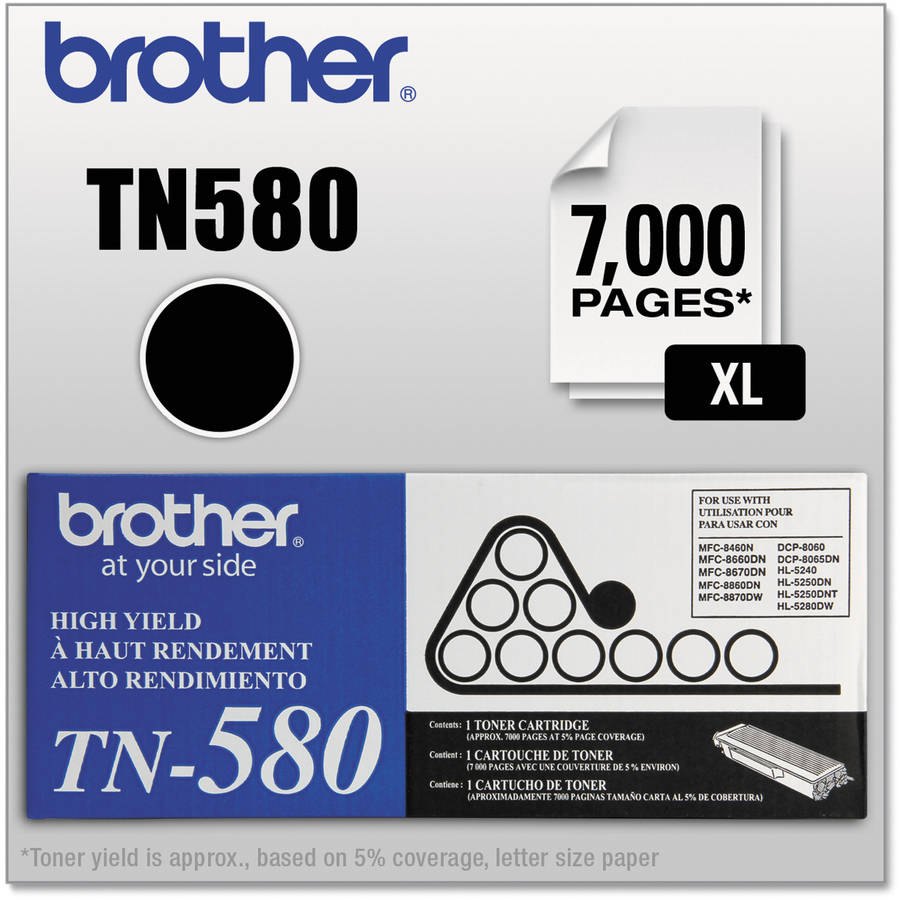 Brother TN580 High-Yield Toner, 7000 Page-Yield, Black