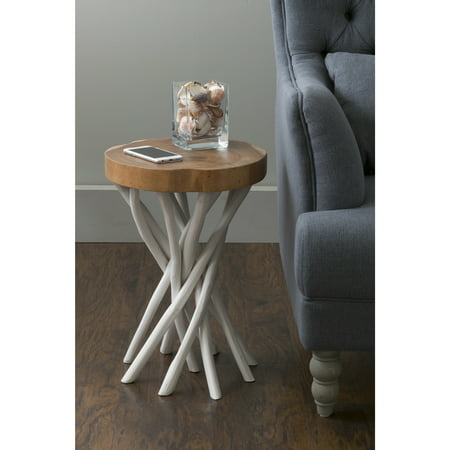 East at Main 's Lancer White Teakwood Round Accent Table